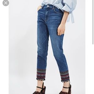 Top shop Moto embroidered jeans